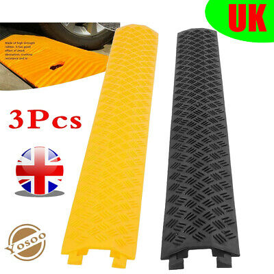 3x Single Channel Rubber Speed Bump Modular Long Road Hump Cable Protector Cover • 20.49£