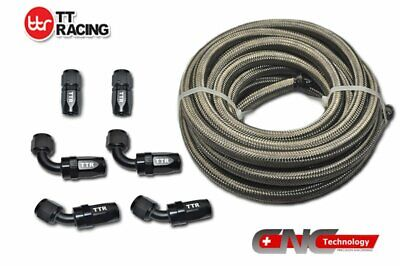 AU71.49 • Buy AN6 -6AN Stainless Steel Braided Fuel Line 12FT 3.5M Black Fitting Hose End Kit