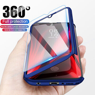 For Xiaomi Redmi 7A 7 Note 7 8 Pro 360° Full Protect Cover Case + Tempered Glass • 3.32$