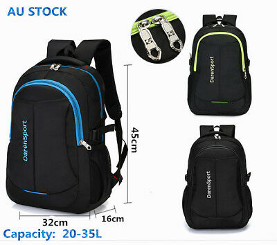 AU21.95 • Buy Mens Women Large Capacity Black Backpack Nylon Laptop Notebook School Travel Bag