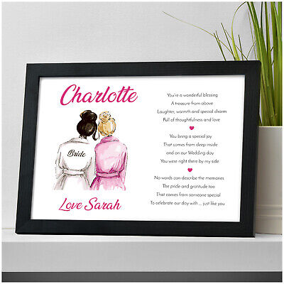 £13.95 • Buy PERSONALISED Bridesmaid Maid Of Honour Flower Girl Gifts For Sister Friends Her