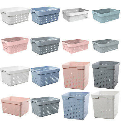 £5.35 • Buy Plastic Basket Container Storage Box High Quality Various Shapes Sizes Colours