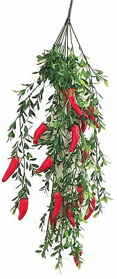 2 X Decorative Artificial Bracket-plant Hanging String With Red Chili Peppers... • 10.01£