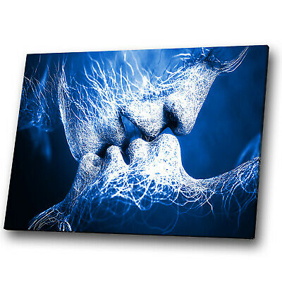 Blue Navy Black White Kiss Abstract Canvas Wall Art Large Picture Prints • 19.99£