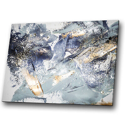 Gold Blue Navy White Grey Abstract Canvas Wall Art Large Picture Prints • 19.99£