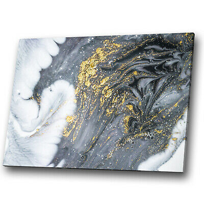 Gold Grey Black White Cool Abstract Canvas Wall Art Large Picture Prints • 19.99£