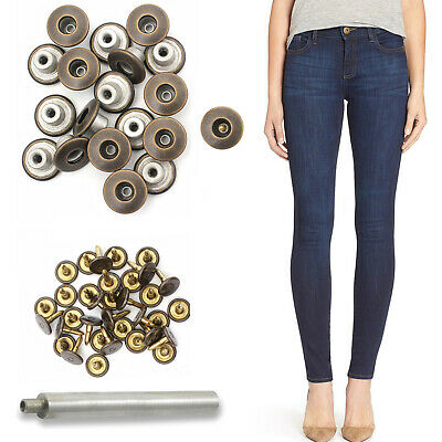 14mm Hammer On Bronze Brass Jeans Buttons With Hand Tool For Denim Jacket Coats • 2.59£