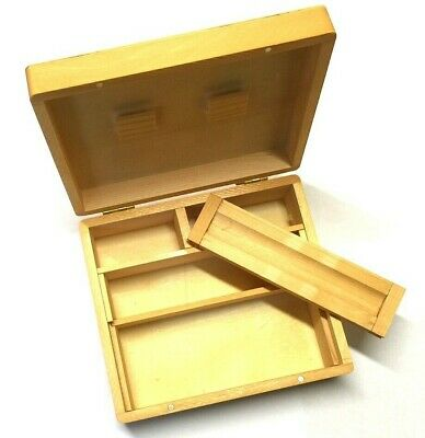 LARGE Wooden Rolling Box Roll Your Own RYO Paper Stash With Storage Compartments • 8.95£