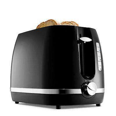 AU31.80 • Buy Toaster 2 Slice Electric Black & Silver With Warming Rack Crumb Tray Toast Slot