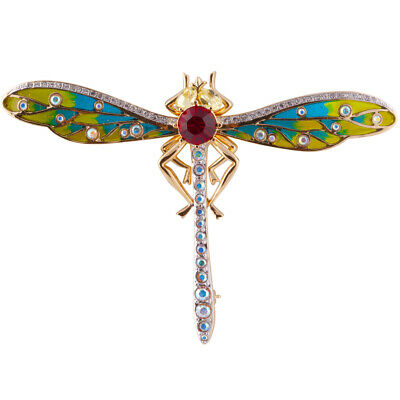 £84 • Buy Gold Plated Dragonfly Brooch Set With Enamel And Swarovski Crystals Ari D Norman