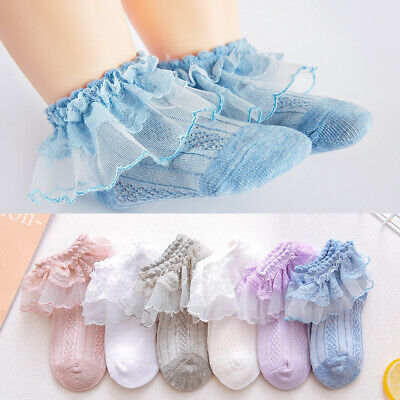 £3.38 • Buy Baby Girls Toddlers Lovely Lace Trim Ankle Wedding Party School Socks 3m-10y