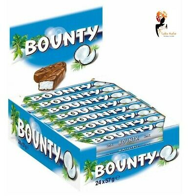 BOUNTY MILK CHOCOLATE Bars Full Case Box 57g X 24 Free Delivery Cheapest • 28.83£