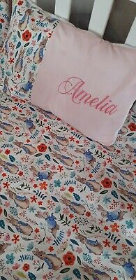 £95 • Buy Adorable Peter Rabbit Floral Pink Cot Bed Set Personalised Cushion Bumper Bars