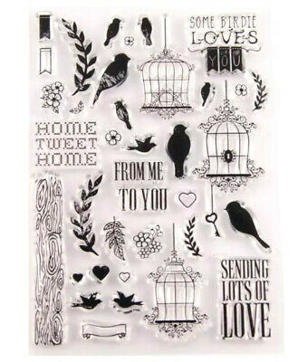 36 Home Sweet Home Clear Stamps-love Birds/hearts/birdcages-wedding Doves-flower • 4.99£