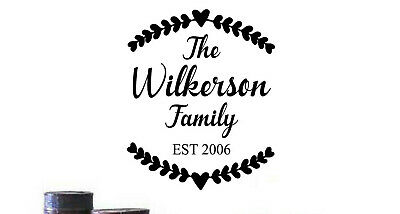 £10.15 • Buy FAMILY NAME PERSONALIZED Rustic Farmhouse Est. Home Wall Decal Words Decor