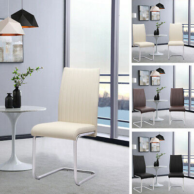 £95.95 • Buy 2x Z-Shape Design Dining Chairs Faux Leather Chrome Base Kitchen Home Office New