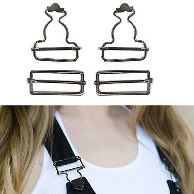 £3.39 • Buy Gunmetal Dungaree Buckle 40mm X 50mm Clip Fastener With Slider For DIY Clothes