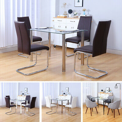 £182.95 • Buy Rectangle Glass Clear Table Dining Table Home Kitchen Set For Small Family House