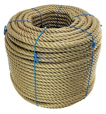 20mm Natural Jute Rope X 100 Metres,Twisted Decking Cord Garden Boating Sash • 117£