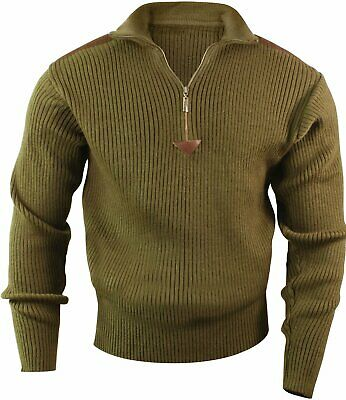 $40.99 • Buy Olive Drab Acrylic Commando Military Quarter Zip Sweater With Suede Patches