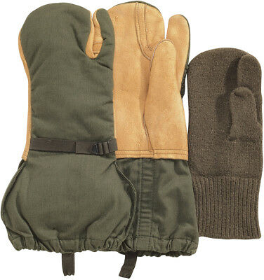 $19.99 • Buy Leather Gloves Trigger Finger Wool Mittens Cold Weather US Military Surplus Used