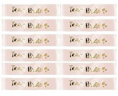£8.99 • Buy Rose Gold Team Bride Sashes, Pack Of 12 Luxury Sashes, Hen Party Fun Accessories