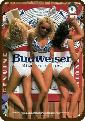 $ CDN30.37 • Buy 1987 BUDWEISER BEER & SEXY WOMEN BUD SWIMSUITS Vintage Look REPLICA METAL SIGN