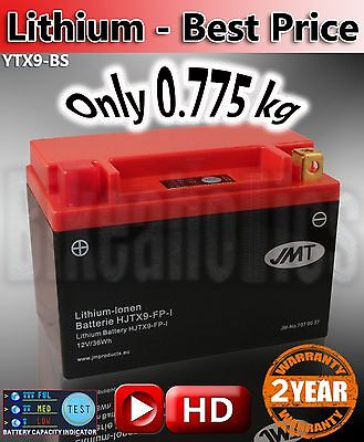 Lithium Ion Motorcycle Battery Direct Replace YTX9-BS JMT Aliant Shorai Shido  • 56.99£