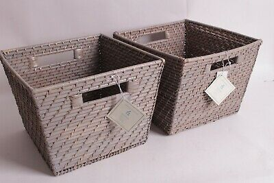 $37.46 • Buy Set/2 NIP Pottery Barn Kids Quinn Gray Storage Basket Bins Large