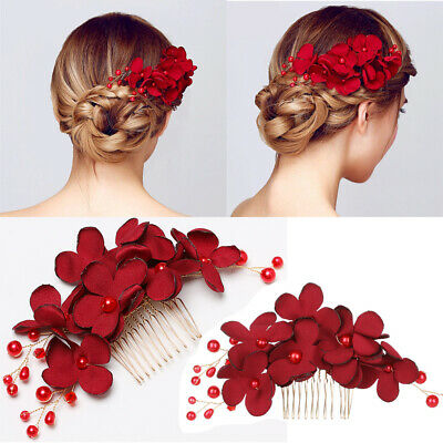 $2.89 • Buy Bridal Wedding Hair Accessories Pearl Red Flower Hair Clips Hairpin Comb Jewelry