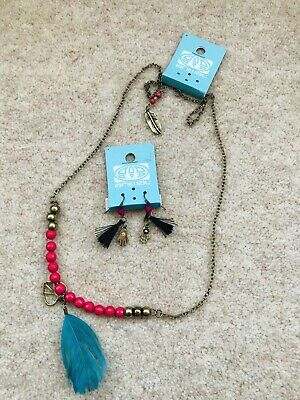 Animal Jewellery Necklace And Earrings Hand Indie Pom Pom Tassles Feathers New • 10.10£