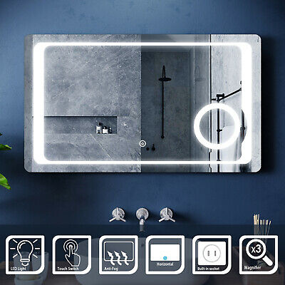 LED Illuminated Bathroom Mirror With Shaver Socket Demister Touch/Button Switch • 74.99£