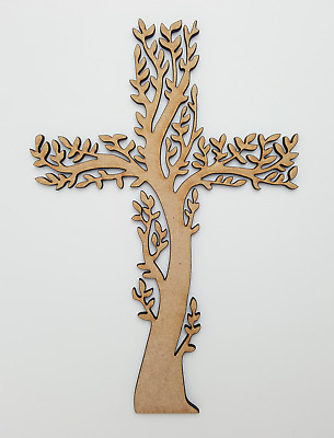 £2.75 • Buy Wooden MDF Cross Tree Tag Shapes Embellishments Decoration Craft 150mm