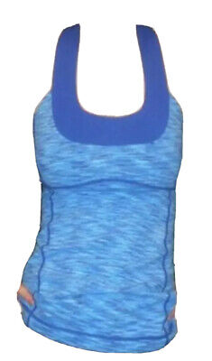 $ CDN40 • Buy LULULEMON ATHLETICA Blue Wee Are Fr Space LUON SCOOP NECK TANK Top Size 8 MEDIUM