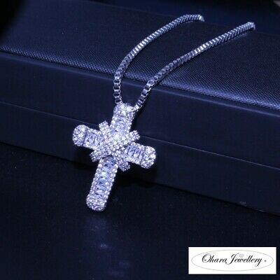£12.49 • Buy 925 Solid Sterling Silver Bling Pave Crystal CZ Cross Pendant Necklace Jewellery