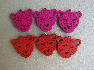 10 - 50 Tiger Charms Large Wood Wooden Animal Pendants 35-35mm Jewellery Making • 2.99£