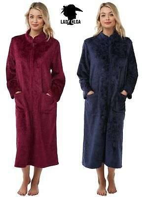 Lady Olga Sweet Embrace Soft Feel Warm Fleece Embossed Zip Dressing Gown Nightie • 21.99£