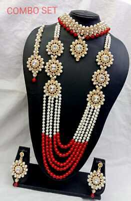 Indian Bollywood Bridal Fashion Pearl Gold Plated Kundan Necklace Jewelry Set • 26.99$