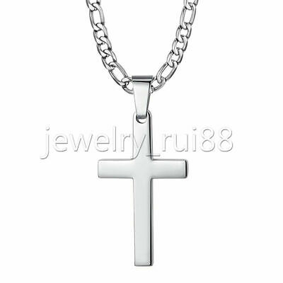 $8.45 • Buy Mens Silver Cross Pendant Necklace Stainless Steel Figaro Chain Necklace 18 -30