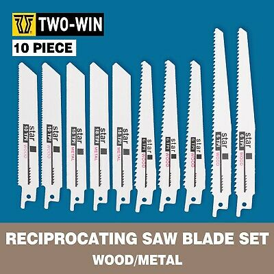 AU17.12 • Buy 10 Pc Pcs 6  8  Reciprocating Saw Blade Set Wood Metal Sheet Pipe Blades Kit AU