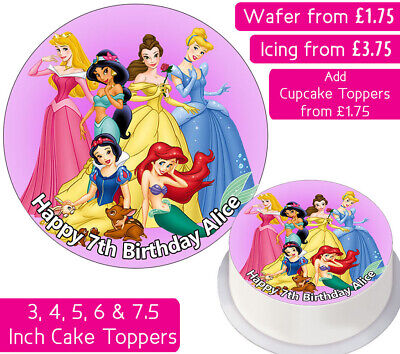 £3.75 • Buy Disney Princesses Edible Wafer & Icing Personalised Cake Toppers Birthday Party