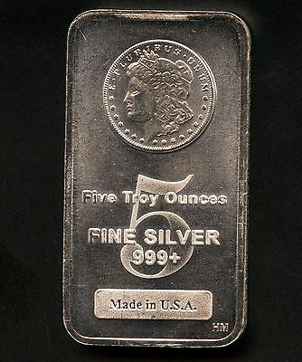 $ CDN239.99 • Buy Large 5 Oz Silver Bar Made In USA .999+ Silver (Morgan Head)