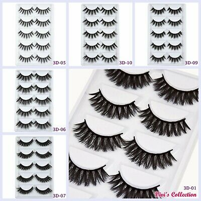 5 Pairs 3D Mink False Eyelashes Long Thick Natural Fake Eye Lashes Set Makeup UK • 3.69£