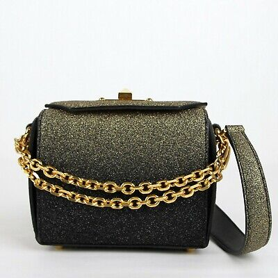 AU760.29 • Buy $2090 Alexander McQueen Gold Black Glitter Leather Box 16 Chain Bag 479767 1070