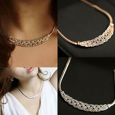 £3.99 • Buy Bling Simple Choker Necklace Thick Twist Chain Gold Silver Women Jewelry Gift