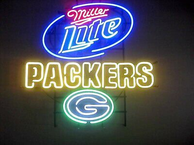 $299.49 • Buy New Green Bay Packers Miller Lite Neon Light Sign 24 X20  Lamp Poster Real Glass