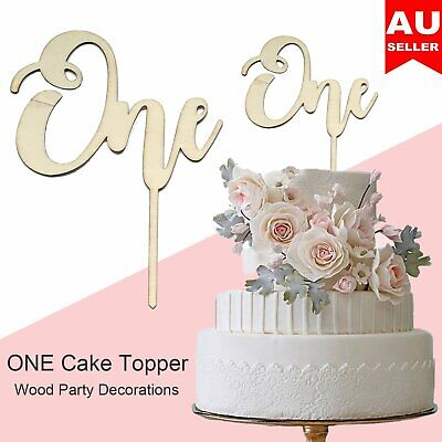 AU6.39 • Buy Wooden ONE Cake Topper 1st First Birthday Decorations Celebration Baby Party DIY