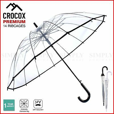 AU15.50 • Buy Crocox Clear Umbrellas Automatic Windproof Large Long Men Womens Dome Birdcage