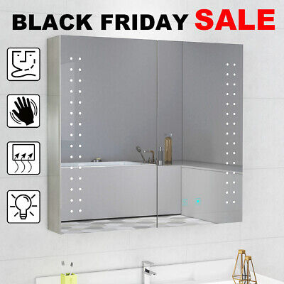 Bathroom Mirror Cabinet With LED Lights Shaver Socket Touch Switch Demister Pad • 125.99£