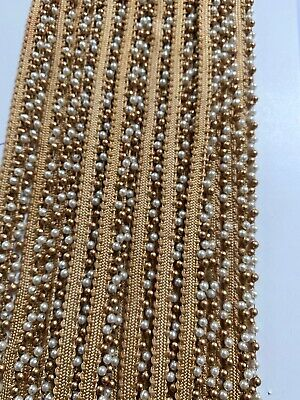 Indian Tiny Double Cream Pearl & Rose Gold Beads On Ribbon Lace Trim - 1 Mtr • 2.50£